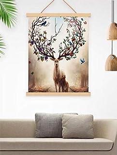 Magnetic Wooden Photo Frame-Natural Wood Frame DIY Picture Poster Scroll Prints Artwork Canvas Hanger Teak Wood-photo to c...
