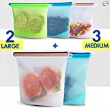Silicone Bags Reusable Silicone Food Bag Reusable Sandwich Bags Reusable Bags Silicone Storage Bags Silicon Containers Plastic Conteiner Freezer Gallon Size Zip Snack Lunch