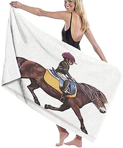 馬に乗ったビーチタオルマイクロファイバージョッキー大型バスシート軽量ビーチタオルファミリーホテル旅行に最適水泳フィットネススポーツ