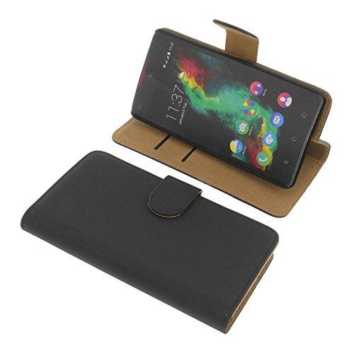 foto-kontor Tasche für Wiko Rainbow Lite Book Style schwarz Kreditkarte Schutz Hülle Buch