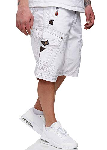 Geographical Norway Herren Shorts Pratique Perle kurze Hose Männer mit Gürtel bestickt Cargoshorts weiß 3XL