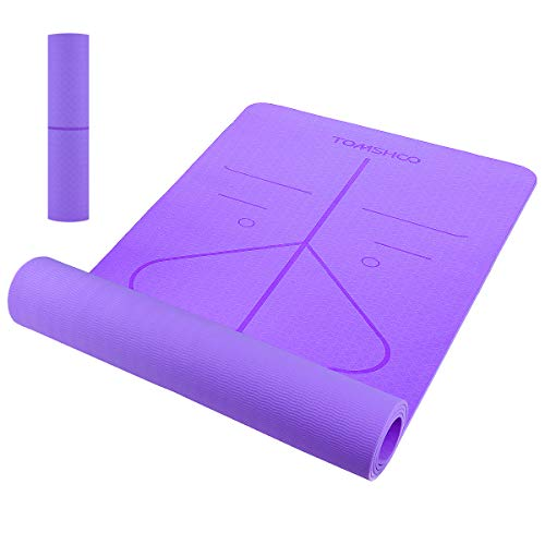TOMSHOO Esterilla de Yoga Antideslizante,Esterilla de Gimnasia con Material Ecológico TPE y Línea Auxiliar, Bolsa,Bandolera183cm x 61cm x 0.6cm (Violeta)