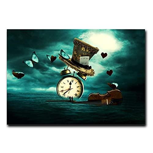 JINHJ Reloj de Pared con Estampado de violín, Sombrero de Mariposa, Imagen Creativa, póster en Lienzo, decoración para Sala de Estar, Impresiones de Pintura (70x100 cm) sin Marco