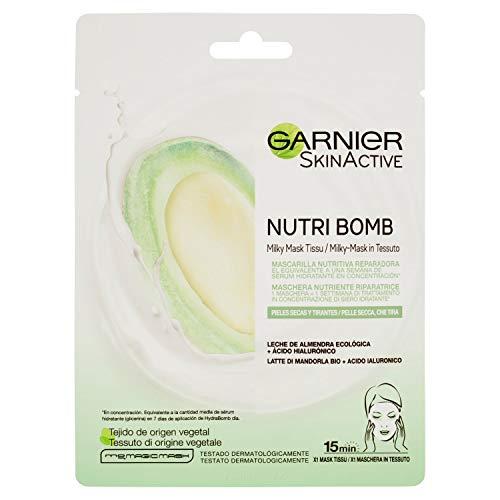 Garnier Skin Active Nutri Bomb Milky Mask Tissu Reparadora Mascarilla de Tejido con Leche de Almendra Ecológica y Ácido Hialurónico para Pieles Secas y Tirantes 28 g