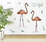 Dengjiam Feuille Verte Romantique Flamants Roses Sticker Mural Chambre Salon Porche Décoration De La Maison Bricolage Stickers Autocollants