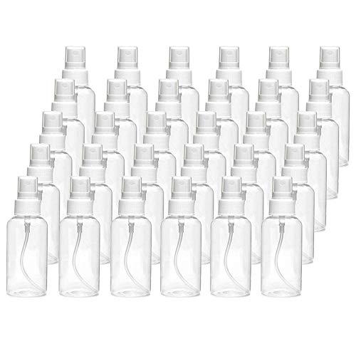Gesh Botella transparente de 30 ml, recargable, de plástico, vacía, ideal para desinfección de líquidos de aceites esenciales, viajes, perfumes, alcohol, etc.