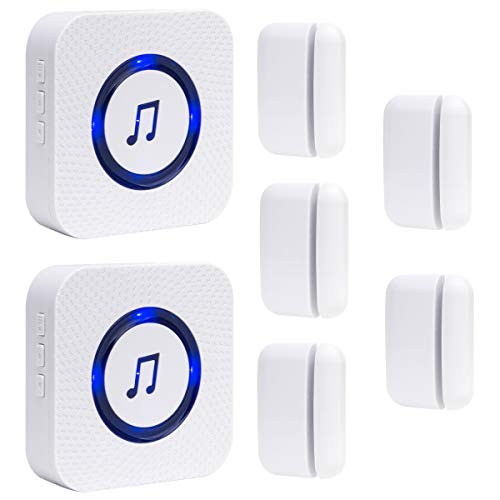 Wireless Door Open Chime Entrance Entry Alert Kit for Business Home Store 2 Receiver 5 Magnetic Door Window Sensor 52 Ringtones 4 Volume Level
