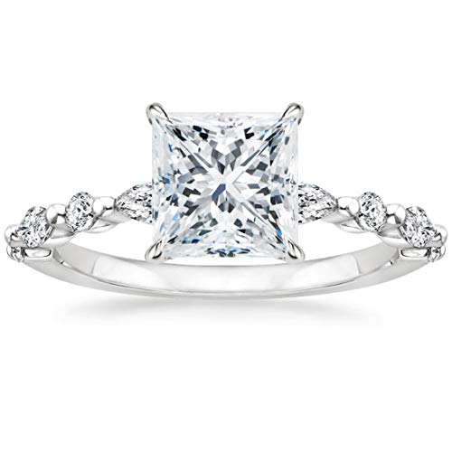 EAMTI 2CT 925 Sterling Silver Ring Princess Cut Solitaire CZ Engagement Ring Marquise & Round Halo Promise Ring for Women Size 8