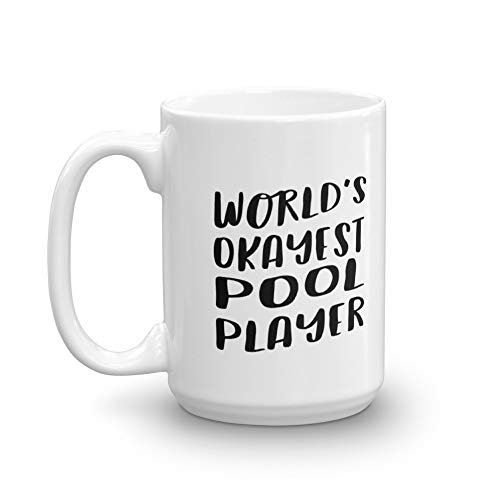 World's Okayest Pool Player Mug for Coworker, Best Friend   Coffee Tea Office Cool Gift Idea   Cue Sports Ball Game Funny 8