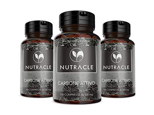 NUTRACLE Carbone vegetale 300 compresse - Elimina gas intestinali, contro pancia gonfia e meteorismo (3 confezioni)