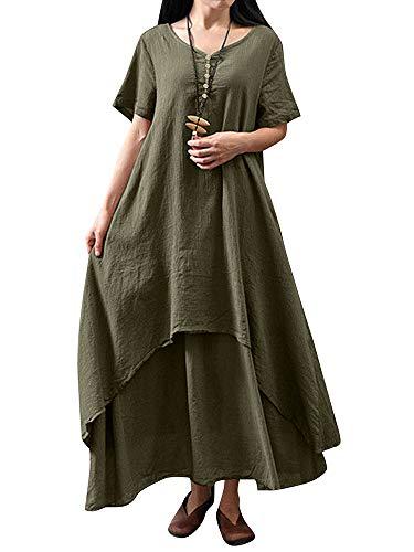 Romacci Damen Beiläufige Lose Kleid Fest Langarm Boho Lang Maxi Kleid S-5XL Schwarz/Weiß/Rot/Gelb (Kaffee-Kurzarm, S)
