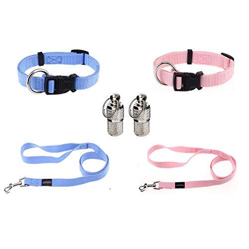 AMATHINGS Welpen Set (Puppy Set) Welpenhalsbänder und Leine in Hellblau und Hellrosa Welpenhalsbänder, Leine & 2 XXS-Adressanhänger