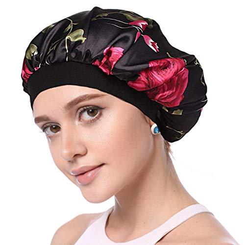 Simoda- Cuffia da notte in raso con motivo floreale per capelli ricci, fascia elastica per la cura dei capelli #1 M