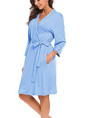 Morgenmantel Damen Nachthemd Schwangere V-Ausschnitt Nachtwäsche Bademantel Nachtwäsche Kimono Saunamantel Schlafanzug Hellblau L