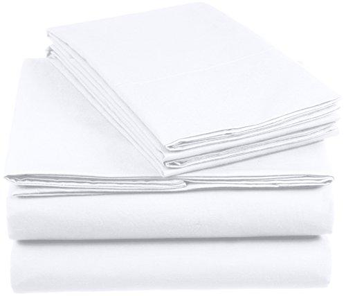 Amazon Basics AB 200TC Cotton-Light, 100% Algodón, Blanco, 140 x 200 cm & 2 Fundas 65 x 65 cm