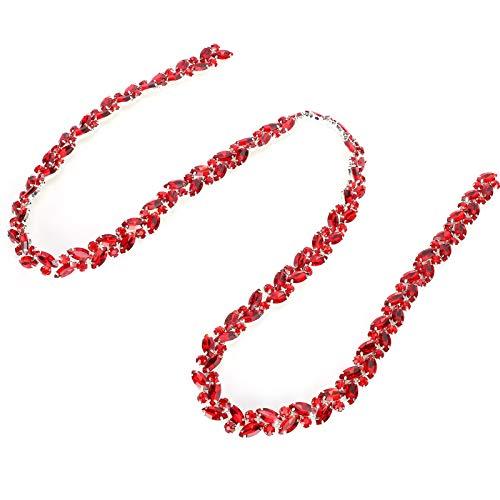Cadena De Diamantes De Vidrio, Cadena De Flores De Ojo De Caballo, Alta Definición Para Ropa, Vestidos De Novia, Muebles, Pulseras, Sombreros, Collares(Gran rojo)