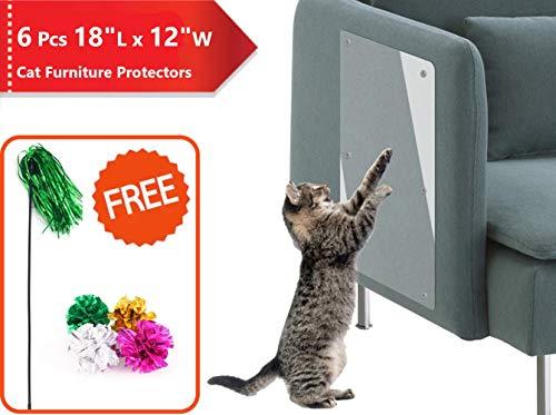 PetIsay Katzen Kratzschutz für Möbel(46cm * 30.5cm, 6 STK) - Kratzmatte für Katzen - Kratzbrett Ecke - Transparent Selbstklebend Anti-Kratz-Pad