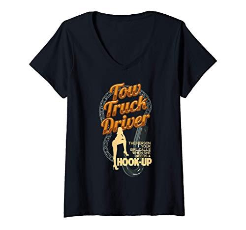 Mujer Camionero de remolque Camiseta de enganche de coche divertid Camiseta Cuello V