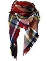 MOTINE Tartan Blanket Scarf Stylish Winter Warm Pashmina Wrap Shawl for Women (Burgundy)