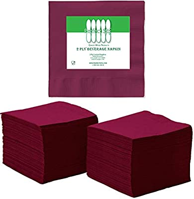 Perfect Stix 2 Ply Burgundy Napkin-100 Paper Cocktail Beverage Napkins, 2-Ply, Burgundy (Pack of 100)