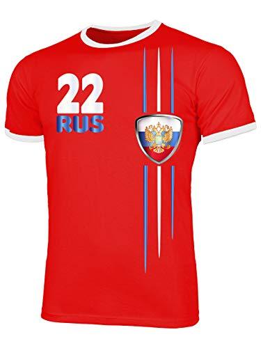 Russland ?????? Russia Fanshirt Fussball Fußball Trikot Look Jersey Herren Männer Ringer Tee t Shirt Tshirt t-Shirt Fan Fanartikel Outfit Bekleidung Oberteil Hemd Artikel