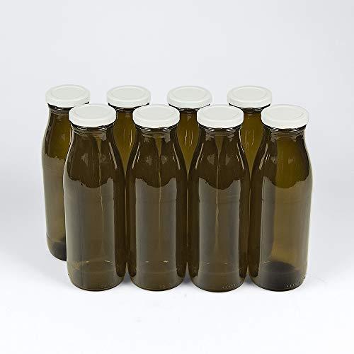 Flaschenbauer - 8 braune Glasflaschen 500ml inkl. 8 Twist-Off-Schraubdeckeln to 48 weiß 0,5l (Weithalsflaschen) – Zum Befüllen von Milchflaschen, Saftflaschen - Flaschen mit Lichtschutz