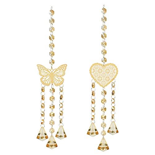 Ideashop 2 Pcs Crystal Suncatcher, Butterfly Heart Crystal Suncatchers...