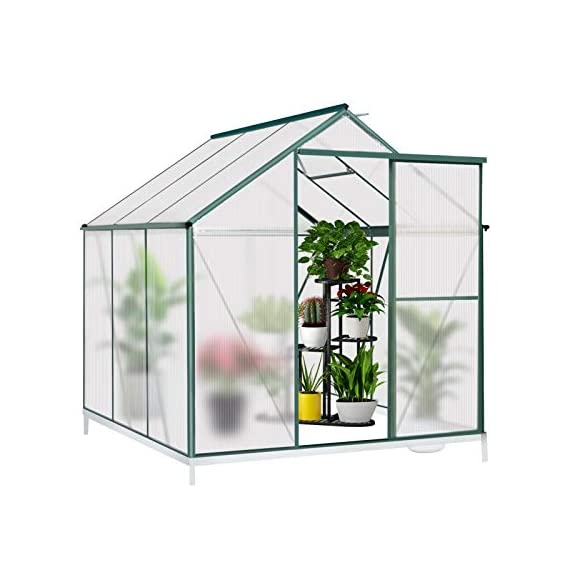 July's song greenhouse,polycarbonate walk-in plant greenhouse with window for winter,garden green house kit for backyard… 1 【extend the growing season】perfect for a first-time or seasoned home gardener, july's song walk-in greenhouses protect plant against rough weather. You can make sure that your plants are healthy and happy all year round. 【sturdy & durable】this diy greenhouse kit is made of 4mm twinwall uv/wind resistant polycarbonate panels and thickened premium aluminum frame,all this together with heavy-duty galvanized base help provide solid support for your entire plant nursery. 【multi-function design】the greenhouse for outdoor has sliding doors for easy access, roof vent for effortless ventilation, and rain gutters for effective drainage of water and snow.