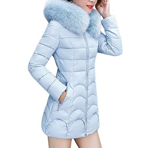 iHENGH Damen Herbst Winter Bequem Mantel Lässig Mode Jacke Frauen mit Kapuze Outwear warmen Mantel Lange Dicke Pelzkragen Baumwolle Parka dünne Jacke(Blau, L)