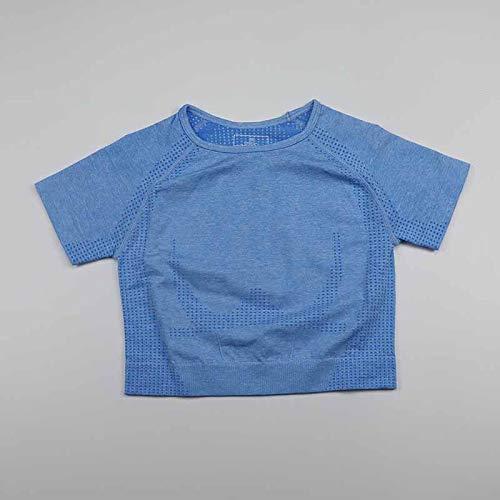 GSDAA Color azul Vital sin costuras Camisa de Yoga de las Mujeres de la Aptitud de Manga Corta de la parte Superior de la Recorta de Entrenamiento Tops Ropa de G