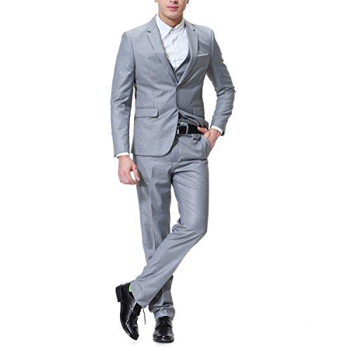 Traje de 3piezas con chaqueta, chaleco y pantalones, hombre, de cuadros, ajuste moderno gris gris S