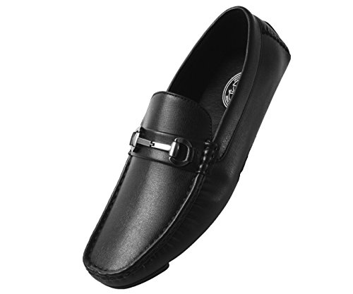 Amali Trina, Moccasins for Men - Mens Casual Shoes - Mens Slip On Shoes - Loafers for Men – Perforated Dress Shoes Men's Slippers with Metal Buckle, Driving Shoes for Men Black Size 13