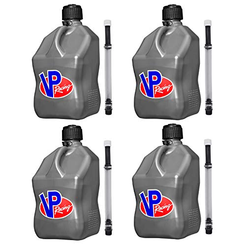 VP Racing Fuels 5 Gallon Square Motorsport Utility Container Silver with Deluxe Filler Hoses (4 Pack)