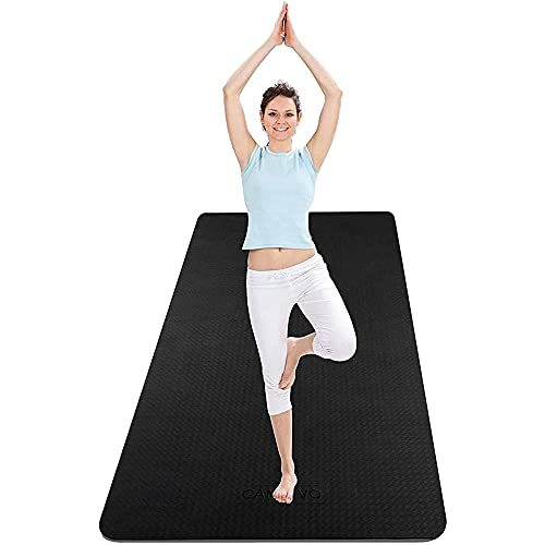 CAMBIVO Extra Wide Yoga Mat for Women and Men (72'x 32'x 1/4'), Non-Slip Exercise Fitness Mat for Yoga, Pilates, Workout (Black)