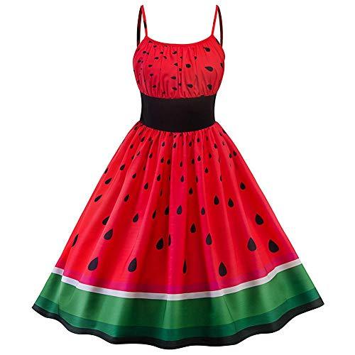 Röhrenkleid im Retro-Stil, Wassermelonen-Druck, Farbblockierung, tailliert, mit Trägern L