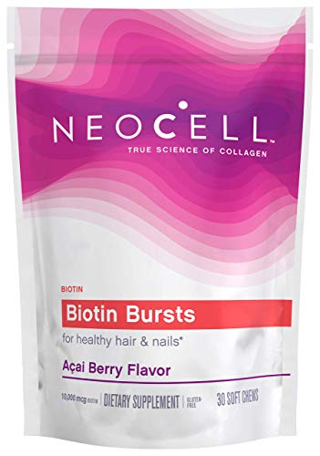 NeoCell Biotin Bursts Soft Chews, Acai Berry, 30 Count (Package May Vary)