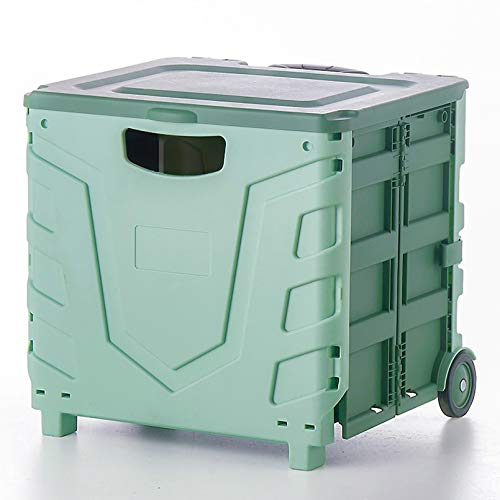 ZQCM Klappwagen-Aufbewahrungsbox, Kofferraumwagen Mit Flaschenzug Supermarkt-Einkaufswagen Einkaufswagen, Green
