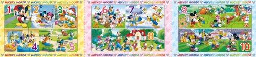 9+13+15ピース 子供向けジグソーパズル パノラマパズル ステップ脳シリーズ ステップ1 ディズニー ミッキー&フレンズ すうじであそぼう