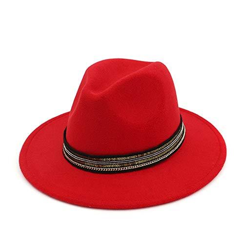 ZHANGBIN Chapeau tendance et élégant pour homme en coton rayé avec ruban neutre Fedora Automne Hiver 2020 (couleur : rouge, taille : 59-60 cm)