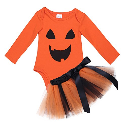 TiaoBug Déguisement Halloween Bébé Fille Ensemble Body Combinaison à Manches Longues Barboteuse Citrouille et Tutu Jupe Cosplay Costume Fête 0-24 Mois Orange 12-18 Mois