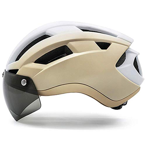 LYY Casco Casco della Bici del Casco USB MTB Strada Mountain Bike Casco Occhiali di Protezione for l'Uomo, Oro Casco della Bici, (Color : Gold Bike Helmet, Size : Large)