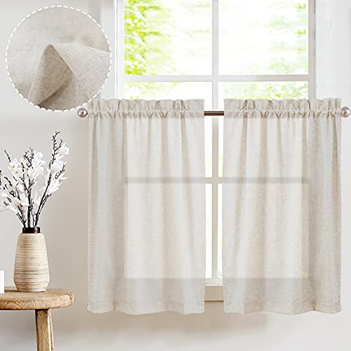 jinchan Tier Curtains Linen Textured 36 Inches Long Curtains for Kitchen Beige Small Cafe Curtains for Window Treatment Set 2 Panels Crude