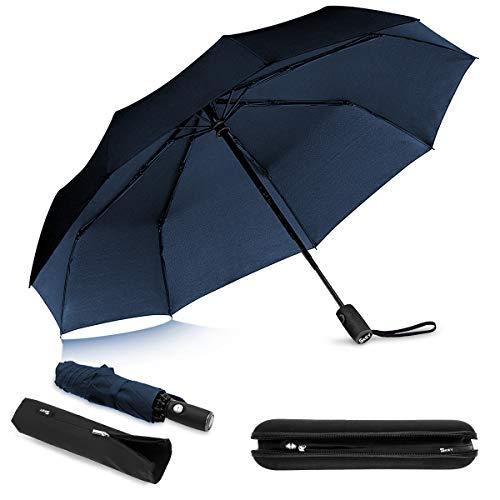 Regenschirm sturmfest bis 140 km/h - inkl. Schirm-Tasche & Reise-Etui - Taschenschirm mit Auf-Zu-Automatik, klein, leicht & kompakt, Teflon-Beschichtung, windsicher, stabil (Blau)