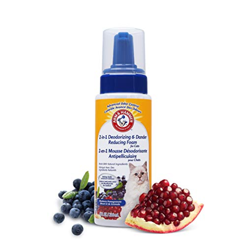 Arm & Hammer For Pets 2-in-1 Deodorizing & Dander Reducing Foam for CatsCat Dander Remover for Cat Dander and Cat OdorsNatural Ingredients and Baking Soda Moisturize and Deodorize Cat Fur, 5 Fl Oz`
