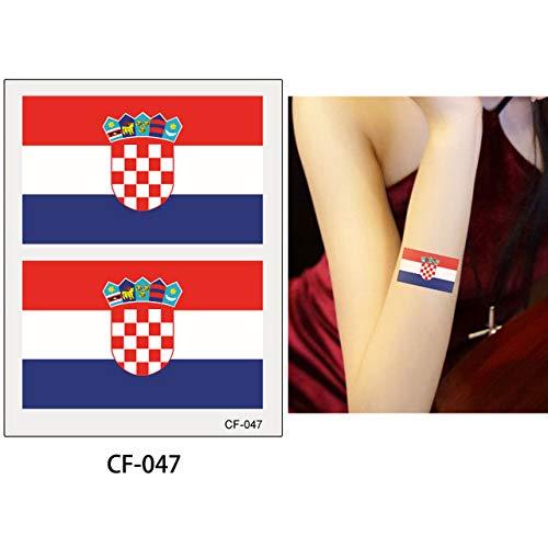 adgkitb 10 stücke Nationalflagge Tattoo Aufkleber Russland Flagge Fußball CF-047 Kroatien 8x6 cm