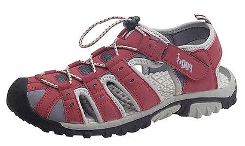 PDQ, Trekking-Sandalen für Damen mit Schnellverschluss und elastischem Kordelzug, Rot - rot / grau - Größe: 35.5