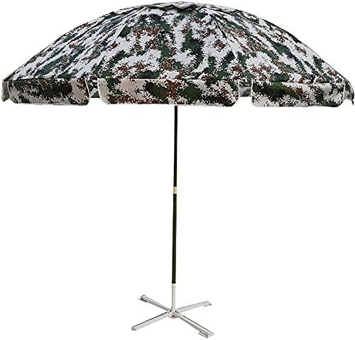 KELITINAus Tarnung Sun-Regenschirm, Regensicherer Und Sonnensicherer Regenschirm, Höhenverstellbare Runde Regenschirme, Für Garten, Stall, Trainingslager, Mit Basis,2,4M