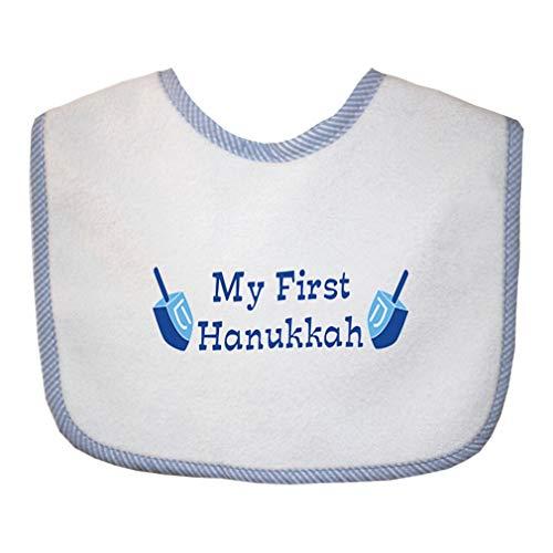 My First Hanukkah Cotton Boys-Girls Baby Terry Bib Gingham Trim - Blue, One Size