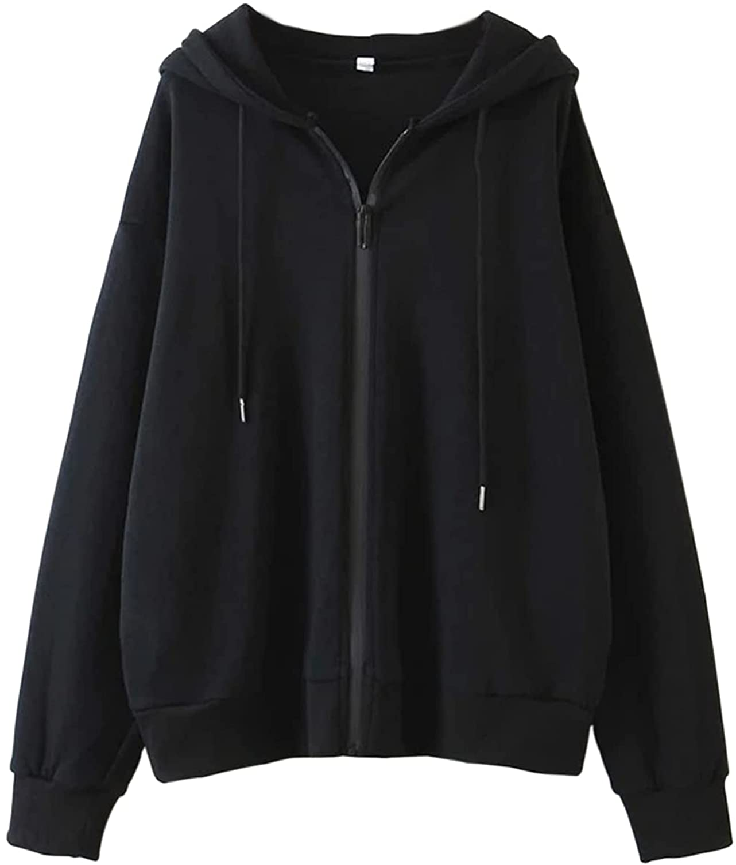 MISSACTIVER Women Oversized Zipper Hoodie Solid Long Sleeve Drop Shoulder Fleece Drawstring Hooded Sweatshirt Jackets Pockets