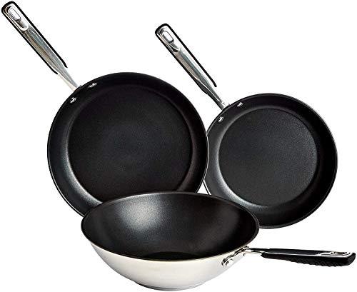 AmazonBasics Juego de Utensilios de Cocina de Inducción - 3 Piezas, Sartenes y Wok, Antiadherentes, Acero Inoxidable - 24/28/28 cm